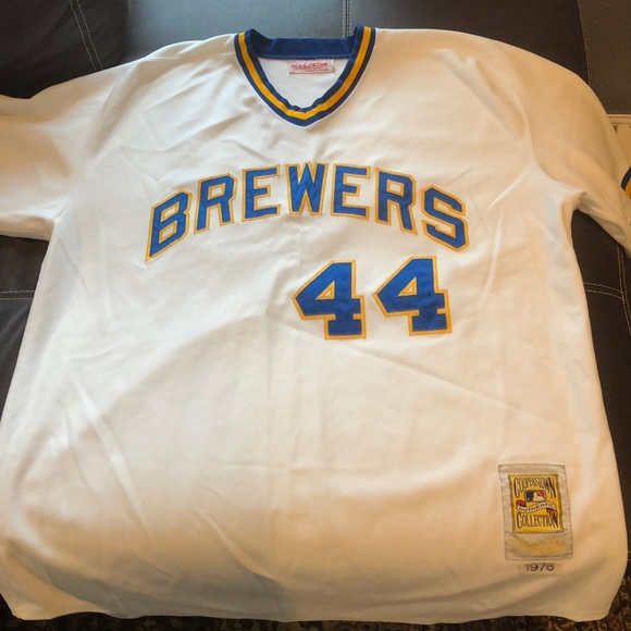 7bcee61f314 Mitchell   Ness - Hank Aaron - Brewers Jersey